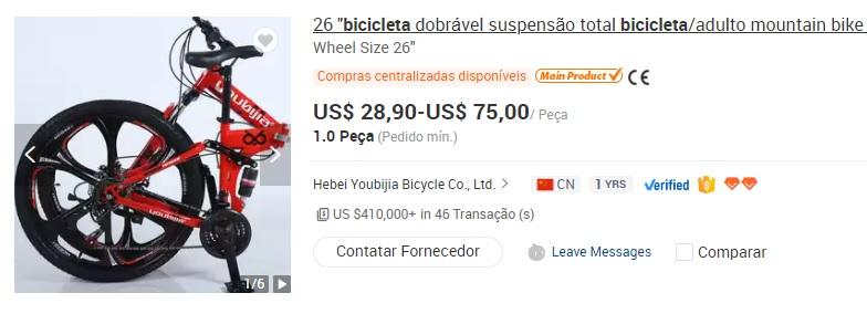Imagem mostra produto que pode ser alvo de importação com a redução da taxa de importação de bicicletas. Na imagem é possível ver um bike vermelha, com rodas formato de estrela, na cor preta. Na imagem, também pode se ver os preços de comercialização no site Alibaba, variando de 28,90 e 75,00 dólares, entre outras informações.
