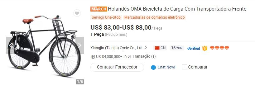 Imagem mostra bicicleta de carga que pode ser alvo de importação com a redução do imposto de importação de bicicletas. A bicicleta é na cor roxa, possui cesto na parte dianteira e garupa na parte traseira. Na imagem é também possível os valores praticados pelo produto, que varia entre 83 e 88 dólares.