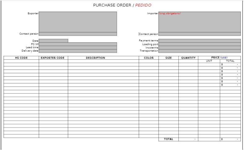 O que é a proforma invoice? Imagem mostra formato e informações da fatura proforma.