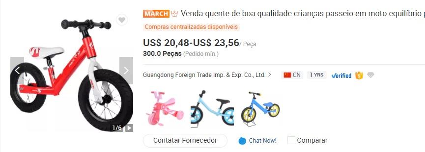 Imagem mostra bicicleta de equilíbrio infantil, que pode ser alvo de importação, devido a queda da taxa de importação de bicicletas. A bike é na cor vermelha, sem pedais, cor rodas pretas. Na imagem também é possível conferir a faixa de preço do item, de 20,48 a 23,56 dólares.